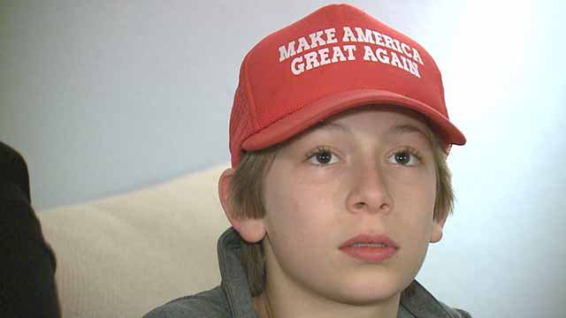 "Christina Cortina's 12-year-old son was attacked for wearing a ""Make America Great Again"" hat on a Parkway school bus. Credit: KMOV"