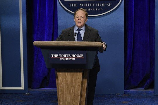 "Frequent ""SNL"" host Melissa McCarthy made a surprise appearance on NBC's sketch-comedy show this weekend to skewer White House Press Secretary Sean Spicer's combative tone with the press. And the resemblance was uncanny. (Credit: Will Heath/NBC)"