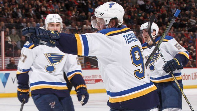 OTTAWA, ON - FEBRUARY 7: Vladimir Tarasenko #91 of the St. Louis Blues celebrates his second period goal against the Ottawa Senators at Canadian Tire Centre on February 7, 2017 in Ottawa, Ontario, Canada. (Photo by Andre Ringuette/NHLI via Getty Images)