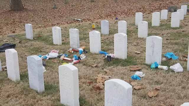 Someone vandalized Alton National Cemetery with trash. Credit: KMOV