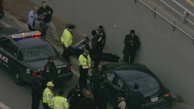 Four people were taken into custody after they led police on a chase from East St. Louis to downtown St. Louis in a stolen car. Credit: KMOV