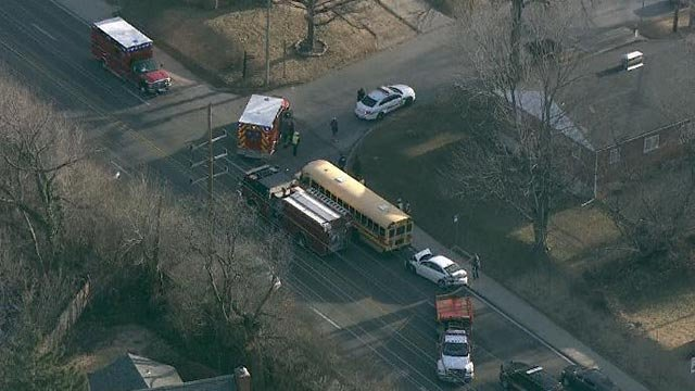 A school bus was involved in a crash on Lucas & Hunt Friday (Credit: KMOV)
