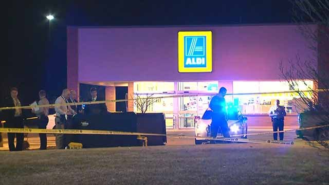 2 people were shot and 1 died in a shooting in the parking lot of an Aldi on Lucas and Hunt in North County Friday night. Credit: KMOV