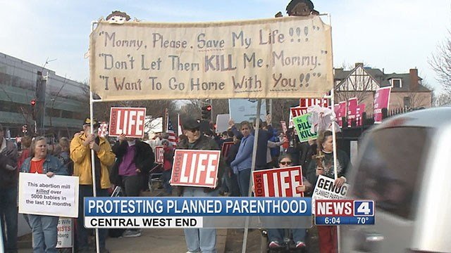 Pro-life supporters gathered outside of Central West End Planned Parenthood on Saturday. (Credit:KMOV)