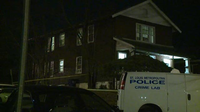 Investigators in the 6300 block of Minnie after a girl was shot and killed Monday (Credit: KMOV)