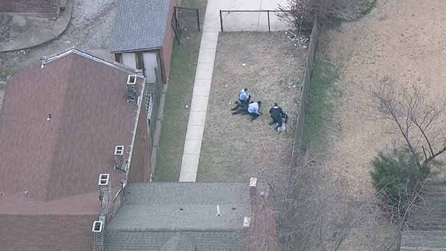 An officer was injured while pursuing a suspect in north St. Louis on Monday. Credit: KMOV