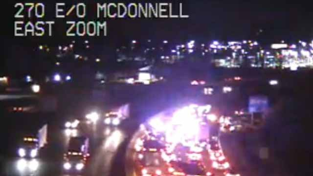 A wreck has closed EB I-270 in North County near McDonnell Blvd. Credit: MoDOT