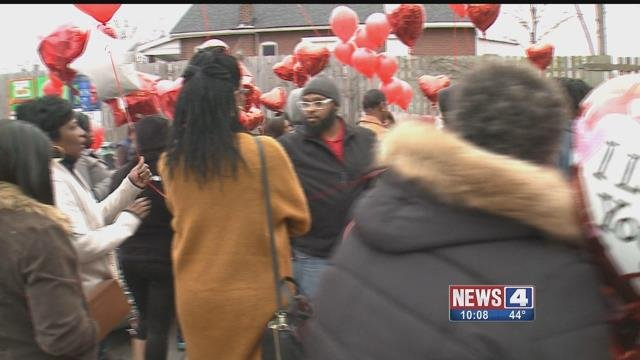 A vigil was held Monday, for Dwayne Gibbs, 30, who was shot and killed on Feb. 10 at a gas station near I-70 and Bircher. Credit: KMOV