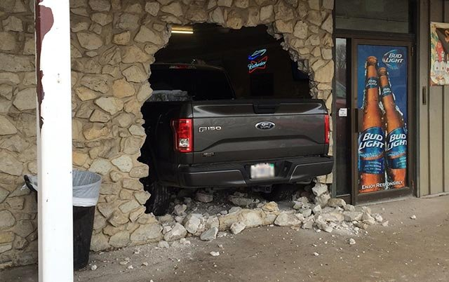 A truck crashed into Gilliganz Bar & Grill Monday (Credit: Gregg Fritsch)
