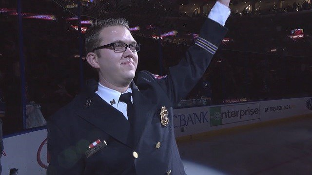 Shawn Daniel was honored at a recent Blues game for his made up story about assisting during the Boston Marathon bombings. (Credit: St. Louis Blues)