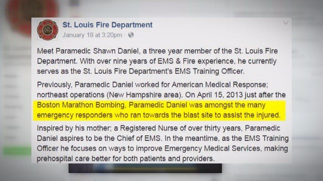 The first statement released on Facebook commending the EMT. (Credit: St. Louis Fire Department)