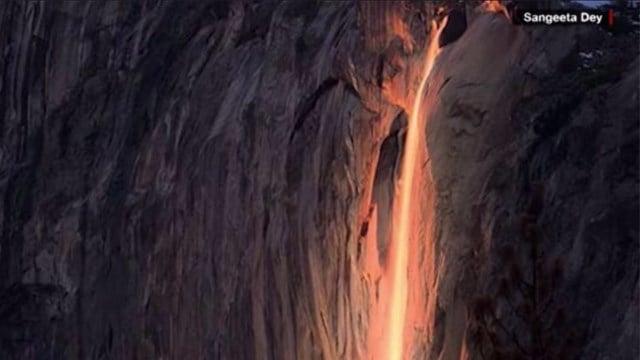 A rare 'firefall' at Yosemite National Park. (Credit: Sangeeta Dey).