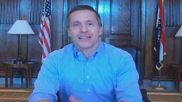 Mo. Gov. Eric Greitens answering questions on Facebook Live. Credit: KMOV