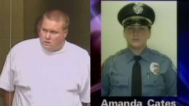 Robert Brooks (L) is serving time in prison for killing Amanda Cates (R), a Normandy Police officer. He is eligible for parole in June. Credit: KMOV