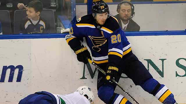 St. Louis Blues' Alexander Steen (20) looks to pass over Vancouver Canucks' Luca Sbisa, left, during the third period of an NHL hockey game, Thursday, Feb. 16, 2017, in St. Louis. (AP Photo/Bill Boyce)