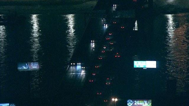 Lights along the Poplar Street Bridge were off Monday morning (Credit: Skyzoom 4)