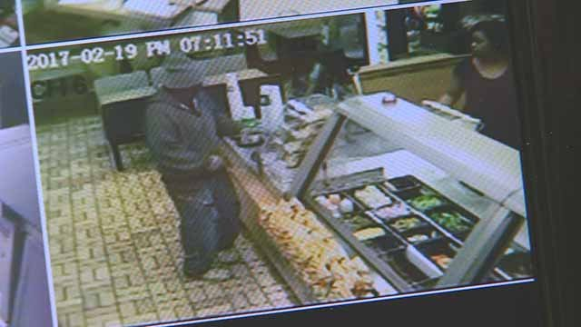 Police are looking for the man who robbed a Subway in Granite City Sunday night. Credit: KMOV