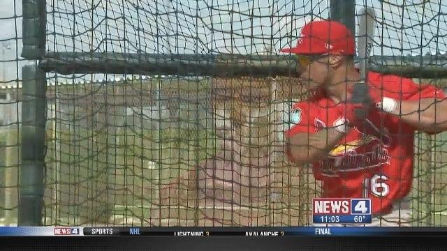 Kolten Wong in the batting cage in Jupiter, Florida. Credit: KMOV