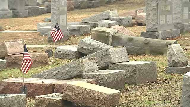 Hundreds of headstones were turned over at Chesed Shel Emeth Cemetery in University City Sunday. Credit: KMOV