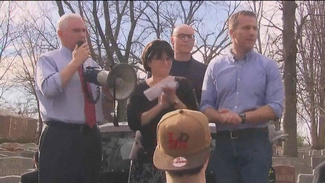 Vice President Mike Pence speaks at a Chesed Shel Emeth Cemetery in University City. The cemetery was recently vandalized. Credit: KMOV