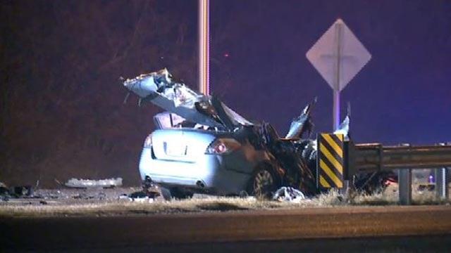 A car following a crash on Route 3 Thursday morning (Credit: KMOV)