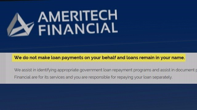 Ameritech Financial's website states that they do not make payments for a client. (Credit: Ameritech Financial)