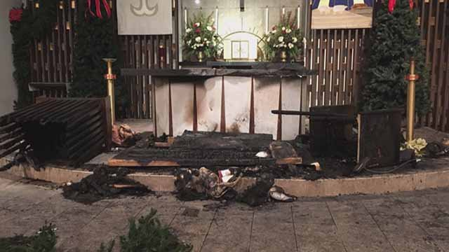 Someone set fire to the alter at St. Monica's Parish in Creve Coeur in December, 2016. Credit: KMOV