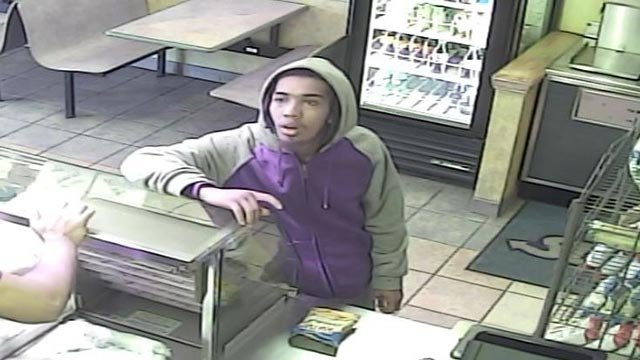 The suspect is accused of robbing a Subway on South Broadway on Feb. 24 (Credit: Police)