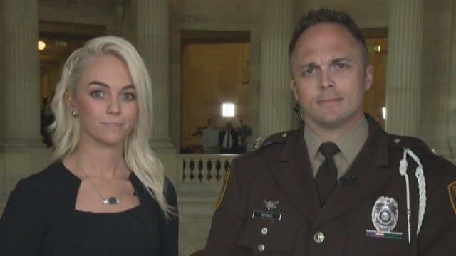 Elizabeth Snyder & her brother, St. Louis County officer Justin Sparks were invited to Washington DC for Trump's address to Congress. (Credit: KMOV)