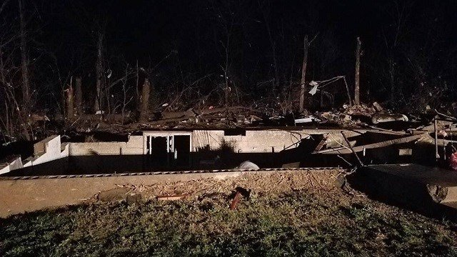 A home destroyed by a suspected tornado  in Brewer, Missouri (Twitter)