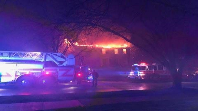 Fire crews rushed to house fire caused by lightning on Tuesday. (Credit: Chesterfield Police Department)