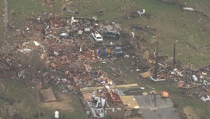 Skyzoom4 over damage in Perryville, Mo. (Credit: KMOV)