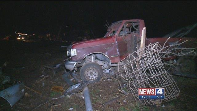 Truck after tornado in Perryville, Mo. (Credit: KMOV)