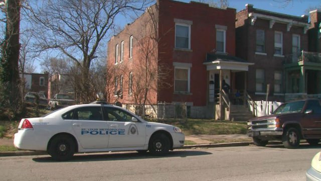 A police vehicle sits outside the residence connected to the investigation of Juan Thompson, who is accused of making bomb threats to Jewish Community Centers (KMOV).
