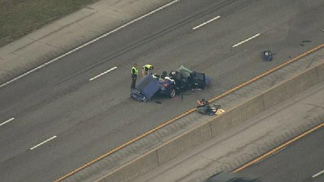 A two-car crash closed the eastbound lanes of I-64 Monday (Credit: KMOV)