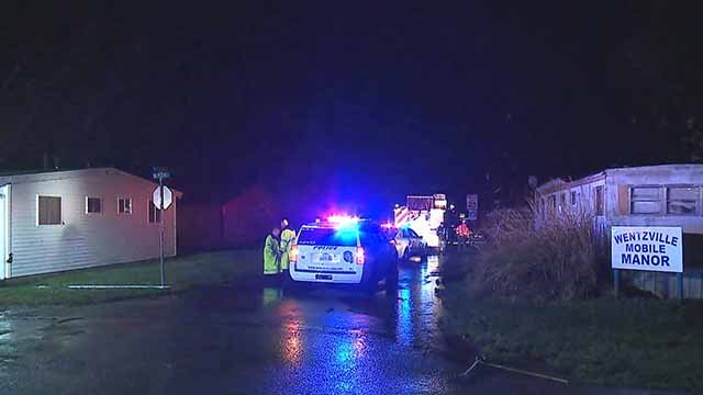 Crews are on the scene of a gas leak that happened at a mobile park in Wentzville late Monday night. There was also storm damage at the mobile home park. Credit: KMOV