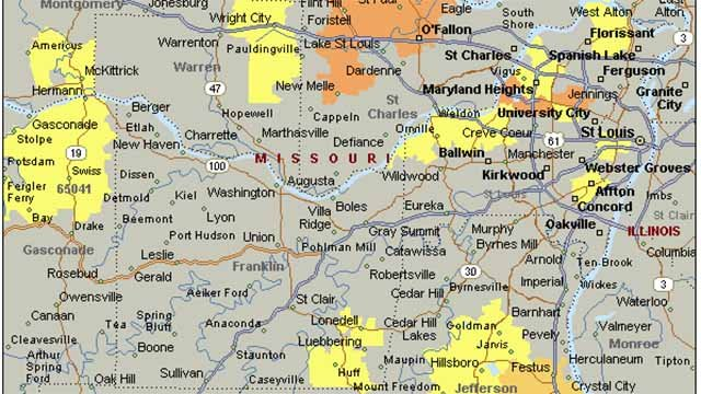 The Ameren outage map in Missouri. Credit: Ameren