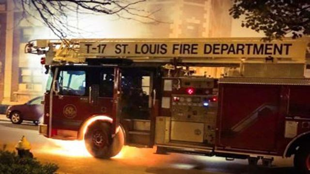 A St. Louis Fire Department T-17 caught fire Tuesday (Credit: St. Louis Fire Department / Twitter)