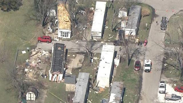 Skyzoom4 over damage in Wentzville Tuesday (Credit: KMOV)