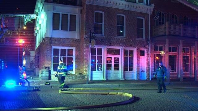 Firefighters outside Lewis & Clark's Restaurant Wednesday morning (Credit: KMOV)
