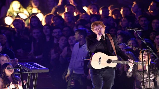 Ed Sheeran performs at the iHeartRadio Music Awards at the Forum on Sunday, March 5, 2017, in Inglewood, Calif. (Photo by Chris Pizzello/Invision/AP)