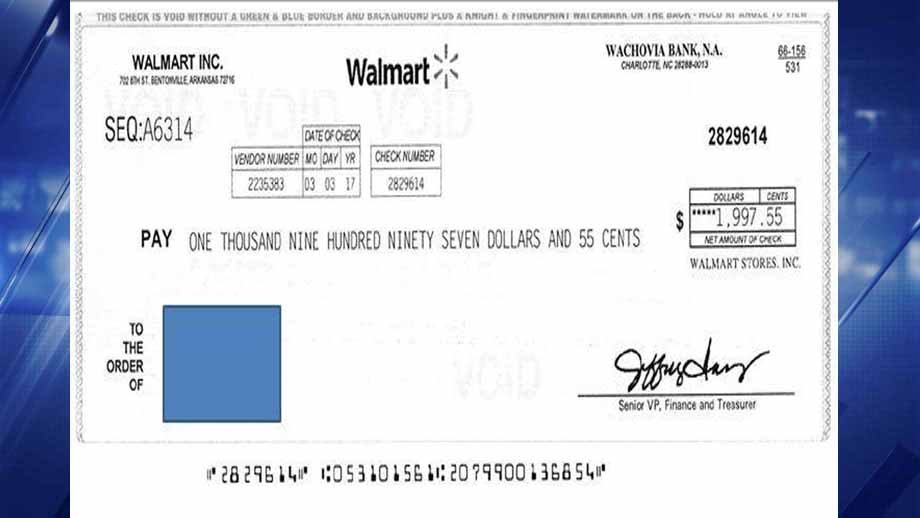 Fake Walmart checks such as this one are showing up in the mailboxes of people in Franklin County. Credit: KMOV