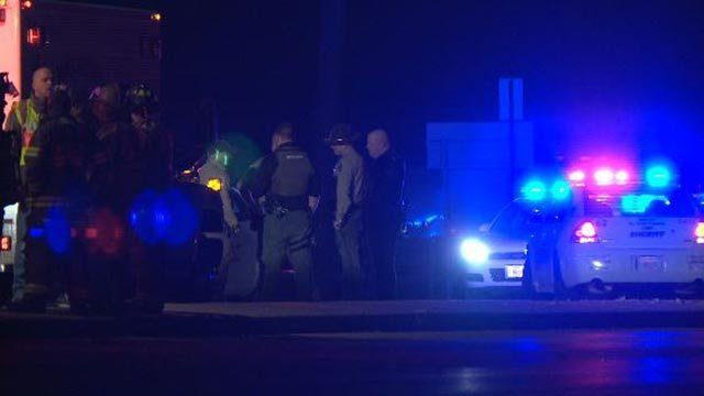 Officials on the scene of a fatal crash at Calyle and Air Mobility around midnight (Credit: KMOV)