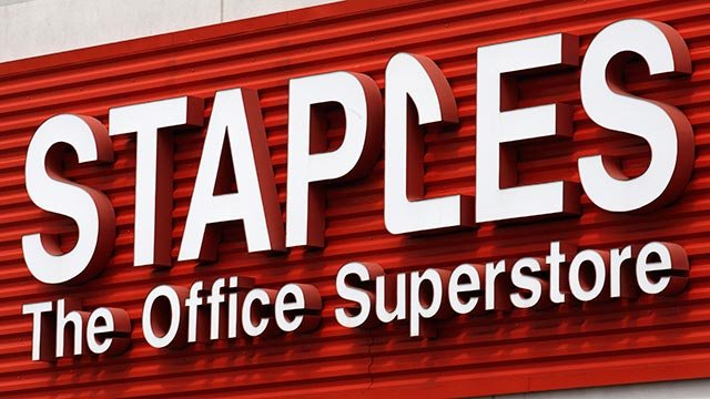 In this May 17, 2011 file photo, a Staples sign is displayed on the front of a Staple store, in Portland, Ore. Staples Inc.  (Credit: AP Photo / Rick Bowmer)