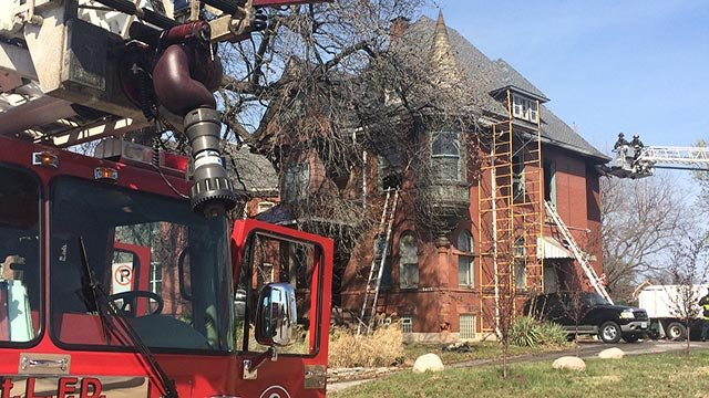 A house fire broke out on the second floor of a home in the 3500 block of Lafayette Thursday morning. (Credit: KMOV)