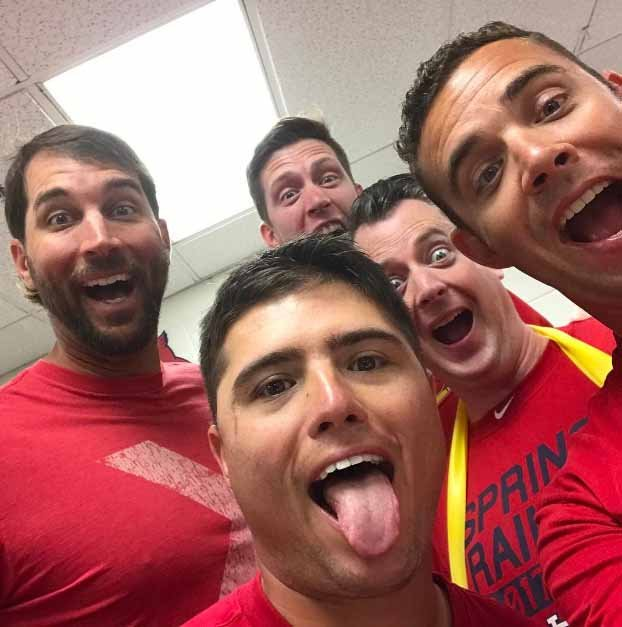 Several Redbirds take a selfie on Matt Carpenter's phone after he left it unattended in the training room. Credit: Matt Carpenter's Instagram page