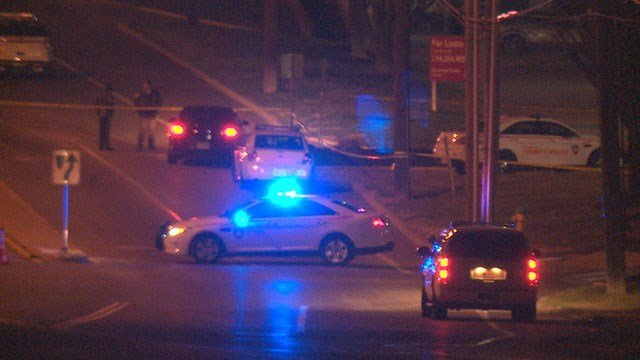 News 4 Reporter Justin Andrews on the scene of an officer-involved shooting early Saturday. (Credit:KMOV)