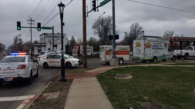 Police on the scene after a woman was hit by a vehicle at Lemay Ferry and Bayless (Credit: KMOV)