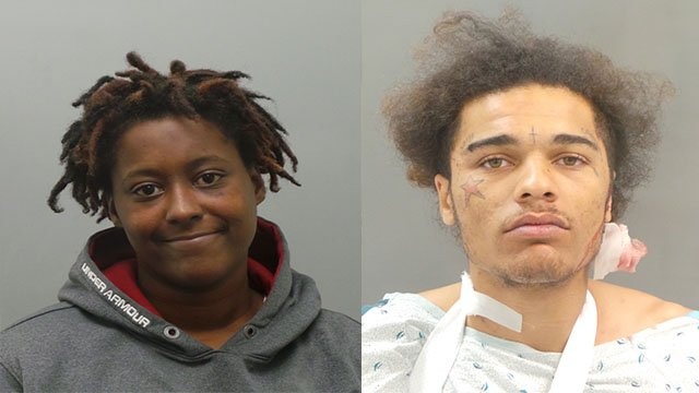 Davontay Vastine, 23, and Monika Williams, 25, have been charged after a 66-year-old woman was shot and robbed in the parking lot of Denny's in Nov. 2016. (Credit: St. Louis County Police Department)