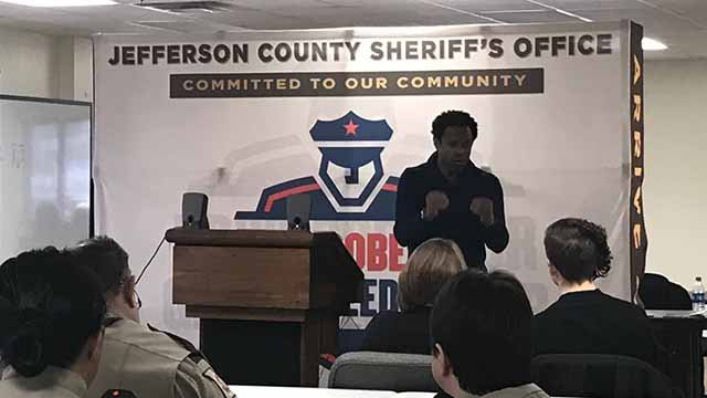 Deputies in Jefferson County received training on how to interact with the deaf community Tuesday. Credit: KMOV